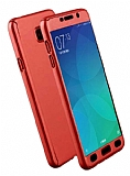 Eiroo Protect Fit Samsung Galaxy C7 Pro 360 Derece Koruma Kırmızı Rubber Kılıf