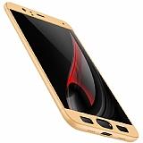 Eiroo Protect Fit Samsung Galaxy J5 Pro 2017 360 Derece Koruma Gold Rubber Kılıf
