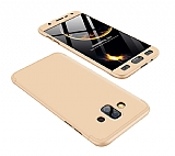 Eiroo Protect Fit Samsung Galaxy J7 Duo 360 Derece Koruma Gold Rubber Kılıf