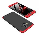 Eiroo Protect Fit Samsung Galaxy J7 Duo 360 Derece Koruma Siyah-Kırmızı Rubber Kılıf