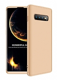 Eiroo Protect Fit Samsung Galaxy S10 Plus 360 Derece Koruma Gold Rubber Kılıf