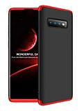 Eiroo Protect Fit Samsung Galaxy S10e 360 Derece Koruma Siyah-Kırmızı Rubber Kılıf