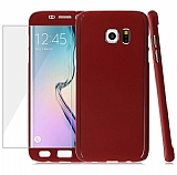 Eiroo Protect Fit Samsung Galaxy S6 Edge 360 Derece Koruma Kırmızı Kılıf