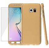 Eiroo Protect Fit Samsung Galaxy S6 Edge 360 Derece Koruma Gold Kılıf