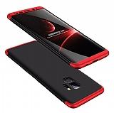 Eiroo Protect Fit Samsung Galaxy S9 Plus 360 Derece Koruma Siyah-Kırmızı Rubber Kılıf
