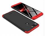 Eiroo Protect Fit Xiaomi Mi 8 Lite 360 Derece Koruma Kırmızı-Siyah Rubber Kılıf