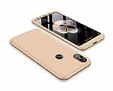 Eiroo Protect Fit Xiaomi Mi A2 / Mi 6X 360 Derece Koruma Gold Rubber Kılıf