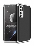 Eiroo Protect Fit Xiaomi Mi Note 10 Lite 360 Derece Koruma Silver-Siyah Rubber Kılıf
