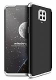 Eiroo Protect Fit Xiaomi Redmi Note 9S 360 Derece Koruma Siyah-Silver Rubber Kılıf