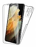 Eiroo Protection Samsung Galaxy S21 Ultra 360 Derece Koruma Şeffaf Silikon Kılıf
