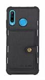 Eiroo Purse Huawei P30 Lite Cüzdanlı Siyah Rubber Kılıf