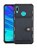 Eiroo Purse Huawei Y7 2019 Cüzdanlı Siyah Rubber Kılıf