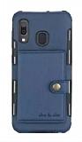 Eiroo Purse Samsung Galaxy A10S Cüzdanlı Lacivert Rubber Kılıf
