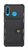 Eiroo Purse Samsung Galaxy A20S Cüzdanlı Siyah Rubber Kılıf