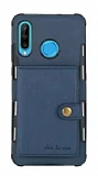 Eiroo Purse Samsung Galaxy A20S Cüzdanlı Lacivert Rubber Kılıf