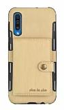 Eiroo Purse Samsung Galaxy A50 Cüzdanlı Gold Rubber Kılıf