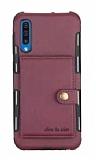 Eiroo Purse Samsung Galaxy A50 Cüzdanlı Bordo Rubber Kılıf
