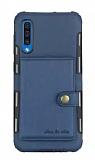 Eiroo Purse Samsung Galaxy A7 2018 Cüzdanlı Lacivert Rubber Kılıf