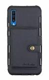 Eiroo Purse Samsung Galaxy A7 2018 Cüzdanlı Siyah Rubber Kılıf