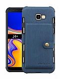 Eiroo Purse Samsung Galaxy J4 Plus Cüzdanlı Lacivert Rubber Kılıf