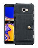 Eiroo Purse Samsung Galaxy J4 Plus Cüzdanlı Siyah Rubber Kılıf