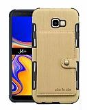 Eiroo Purse Samsung Galaxy J4 Plus Cüzdanlı Gold Rubber Kılıf