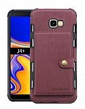 Eiroo Purse Samsung Galaxy J4 Plus Cüzdanlı Bordo Rubber Kılıf