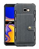 Eiroo Purse Samsung Galaxy J4 Plus Cüzdanlı Gri Rubber Kılıf