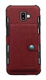 Eiroo Purse Samsung Galaxy J6 Plus Cüzdanlı Bordo Rubber Kılıf