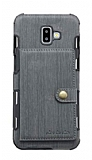 Eiroo Purse Samsung Galaxy J6 Plus Cüzdanlı Gri Rubber Kılıf