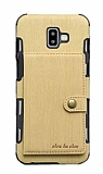 Eiroo Purse Samsung Galaxy J6 Plus Cüzdanlı Gold Rubber Kılıf