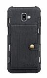 Eiroo Purse Samsung Galaxy J6 Plus Cüzdanlı Siyah Rubber Kılıf