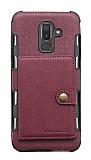 Eiroo Purse Samsung Galaxy J8 Cüzdanlı Bordo Rubber Kılıf