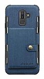 Eiroo Purse Samsung Galaxy J8 Cüzdanlı Lacivert Rubber Kılıf
