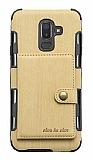 Eiroo Purse Samsung Galaxy J8 Cüzdanlı Gold Rubber Kılıf