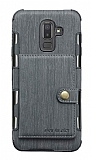 Eiroo Purse Samsung Galaxy J8 Cüzdanlı Gri Rubber Kılıf