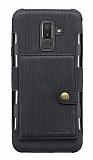 Eiroo Purse Samsung Galaxy J8 Cüzdanlı Siyah Rubber Kılıf