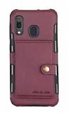 Eiroo Purse Samsung Galaxy M20 Cüzdanlı Bordo Rubber Kılıf