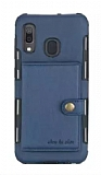 Eiroo Purse Samsung Galaxy M20 Cüzdanlı Lacivert Rubber Kılıf