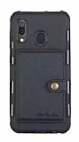 Eiroo Purse Samsung Galaxy M20 Cüzdanlı Siyah Rubber Kılıf