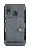 Eiroo Purse Samsung Galaxy M20 Cüzdanlı Gri Rubber Kılıf