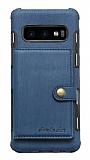 Eiroo Purse Samsung Galaxy S10 Cüzdanlı Lacivert Rubber Kılıf
