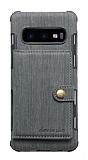 Eiroo Purse Samsung Galaxy S10 Cüzdanlı Gri Rubber Kılıf