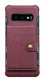 Eiroo Purse Samsung Galaxy S10 Cüzdanlı Bordo Rubber Kılıf
