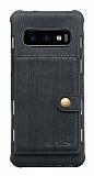 Eiroo Purse Samsung Galaxy S10 Cüzdanlı Siyah Rubber Kılıf