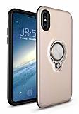 Eiroo Q-Armor iPhone X / XS Selfie Yüzüklü Ultra Koruma Gold Kılıf