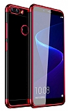Eiroo Radiant Alcatel 1S Kırmızı Kenarlı Şeffaf Silikon Kılıf