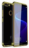 Eiroo Radiant Huawei P Smart Gold Kenarlı Şeffaf Silikon Kılıf