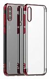 Eiroo Radiant Huawei P Smart Pro 2019 Kırmızı Kenarlı Şeffaf Silikon Kılıf