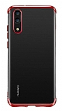 Eiroo Radiant Huawei P30 Lite Kırmızı Kenarlı Şeffaf Silikon Kılıf